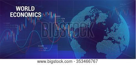 Global Economics Concept With Charts And 3d Earth Globe. Futuristic Trading Banner. Forex And Analog