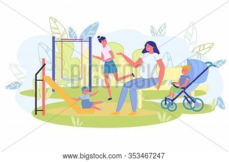 Pregnant Woman Walking With Children At Playground. Mom Looks After Kids While They Entertain Outsid