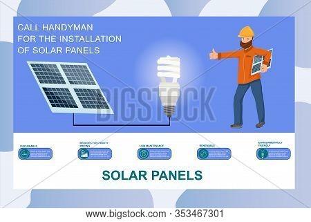 Call Handyman For Solar Panels Installation Vector Illustration. Solar Battery Advantages Banner. Ph