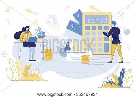Bookkeepers Making Report Flat Vector Illustration. Accountants At Work Calculating Company Expenses