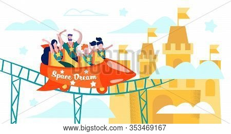 Family Fun In Theme Or Amusement Park Flat Vector Concept. Parents With Children Spending Time Toget