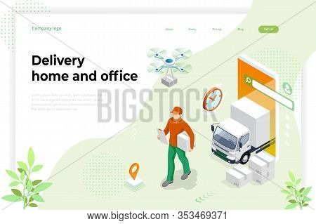 Isometric Logistics And Delivery Concept. Delivery Home And Office. Tracking Delivery Service Online