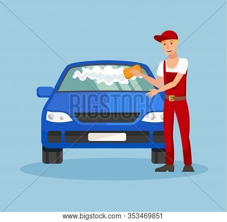Worker In Car Wash Service Vector Illustration. Man In Overalls And Cap Cleaning Windshield Characte