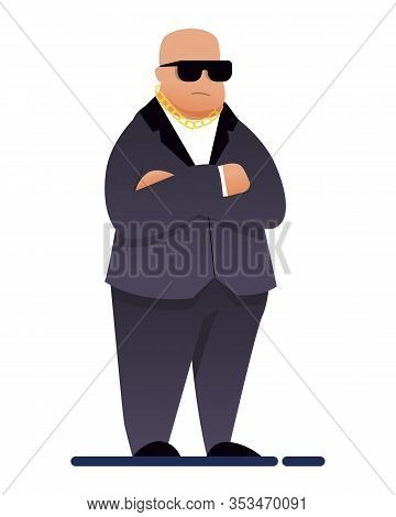 Flat Night Club Security Guard Chief Bouncer In Formal Black Suit, Dark Eyeglasses And Gold Chain. C