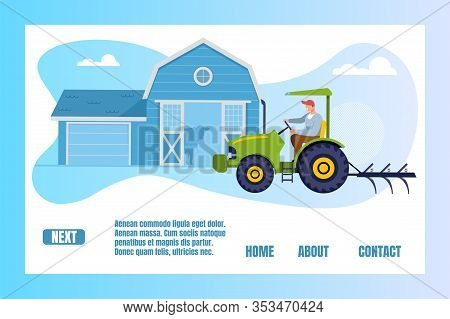 Gardener, Farmer Or Worker Character Driving Tractor, Growing Agricultural Products On Gardening Woo