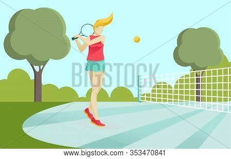 Cartoon Active Sporty Girl In Sportswear Playing Tennis On Court In Green Park. Woman Holding Racque