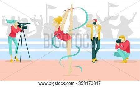 Young Rhythmic Gymnast With Ribbons Performance On Competition Stage. Championship Workout Acrobat B