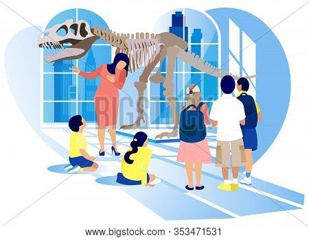 Group Of Kids Watch Prehistoric Predator Tyrannosaurus Rex Dinosaur Skeleton At Archeology Museum Ex