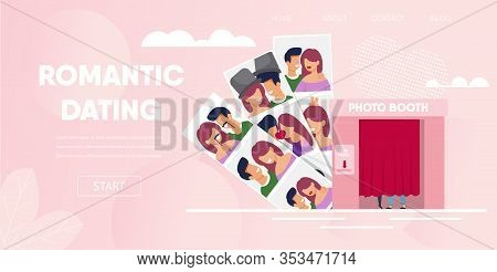 Romantic Dating Concept. Love Couple Boyfriend Girlfriend Have Fun Photo Booth Cabin Cartoon Vector
