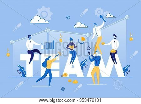 Vector Illustration Team Company Business Staff. Group Man And Woman On Background Graph Growth Corp