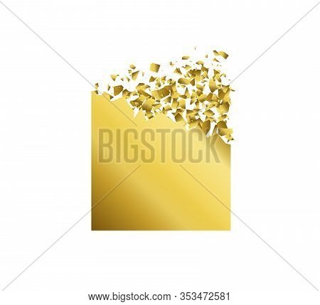Exploding Square With Debris. Isolated Gold Illustration