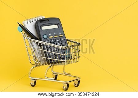 Shopping List, Check Out And Payment Or Expense Calculation Concept, Calculator And Small Note With