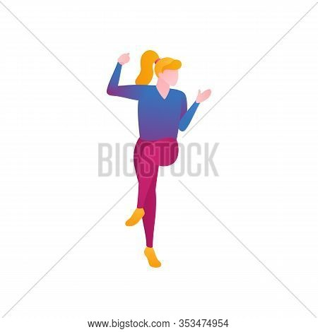 The Girl Dances, Flat Vector Illustration. The Girl Dancing In The Rhythm Of Rock N Roll High Bounci