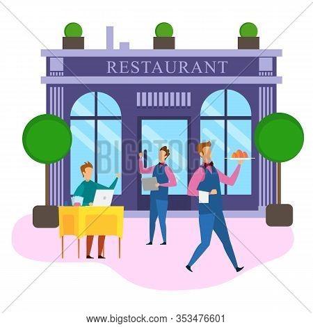 Cartoon Businessman With Notebook Order Food Sit Restaurant Table Waiter Menu Vector Illustration. S