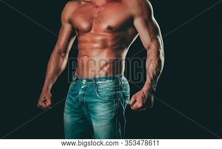 Athletic Man With Ab, Abs Or Six Pack. Closeup Of A Handsome Mans Torso. Chest Muscles. Male Torso