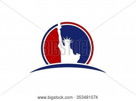 Memorial Day. Statue Of Liberty On A White Background. Emblem, Logo. Vector.
