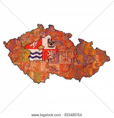 Emblem Of Central Bohemian Region On Map With Administrative Divisions And Borders Of Czech Republic