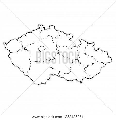 Territories Of Regions On Administration Map Of Czech Republic