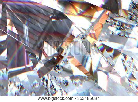 Diamond Texture With Colorful Abstract, 3d Illustration.. Beautiful Sparkling Diamond On A Light Ref
