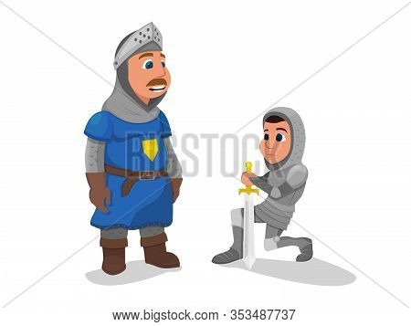Young Knight In Metal Armor Stand On Knee With Sword In Hand Oath Giving To King Isolated On White B