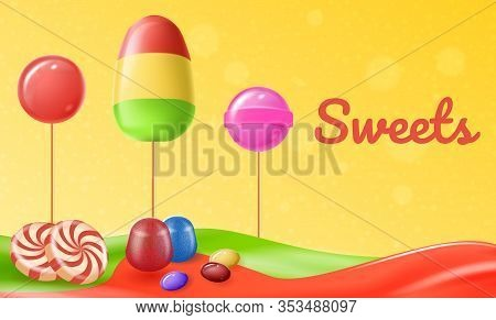 Sweet Fruit Lollipops On Yellow Background. Vector Illustration. Nature Composition. Colored Caramel