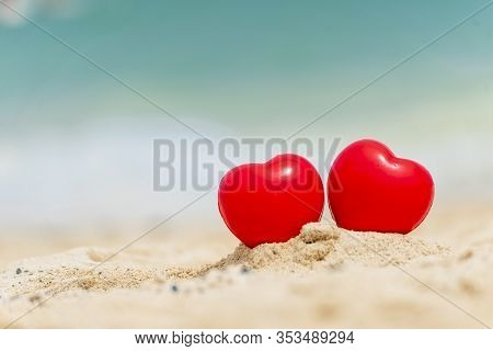 Two Hearts Couple Lover Symbol On Honeymoon Day Trip In Tropical Paradise Island With Banner Copy Sp