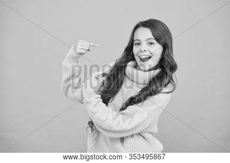 Look There. Pure Beauty Of Baby Girl. Small Girl With Long Brunette Hair. Child In Casual Winter Fas
