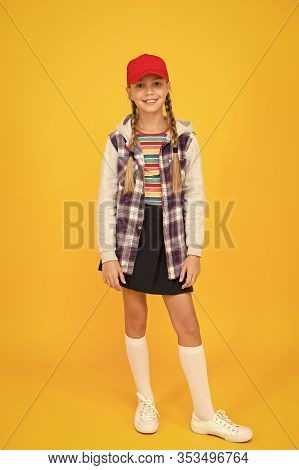 Modern Outfit. Rebellious Teen. Street Style. Cool Schoolgirl. Have Fun Charismatic Girl On Yellow B