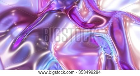 Glossy Metal Neon Pink And Blue Fluid Glossy Mirror Water Effect Background Backdrop Texture 3d Rend