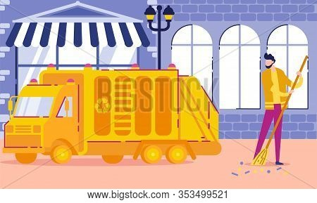 Sweeper At Work, Public Sector Worker Flat Vector Illustration. Garbage Collection Man Cleans City.