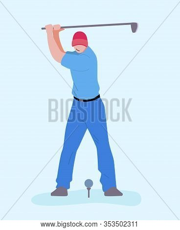 Man In Blue Uniform Playing Golf Abstract Illustration. Flat Vector Professional Golfer Or Amateur O