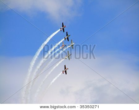 Tukums, Latvia - August 1: The Great Britain Aerobatic Display Team The Yakovlevs Display At Tukums
