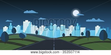 Night Public Park With Main Street To City And Sky Background.vector Illustration.road With Night Ur