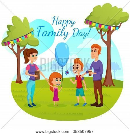 Informative Banner Inscription Happy Family Day. Charity And Social Projects For Children And Adults