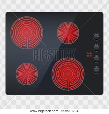 Glass Surface Of Electric And Inductive Hob. Swith On. Domestic Kitchen Equipment. Above View Of Ele