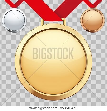 Set Of Sport Medals With Ribbon. Bronze And Silver And Gold Medals. Vector Illustration Isolated On
