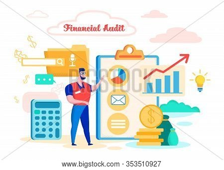 Vector Illustration Financial Audit Cartoon Flat. Bearded Male Auditor Reviewing Accounting Report.