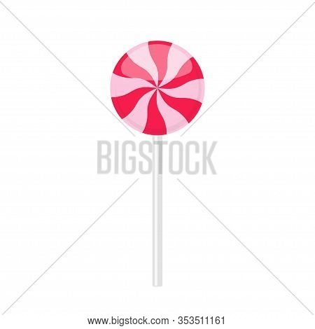 Lollipop Candy With Pink And Red Twisted Rays Pattern. Vector Illustration Isolated On White Backgro