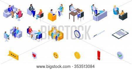 Psychologist Icons Set. Isometric Set Of Psychologist Vector Icons For Web Design Isolated On White