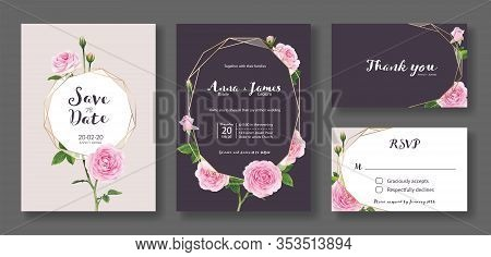 Wedding Invitation Card, Save The Date, Thank You, Rsvp Template. Vector. Pink Rose Flower.