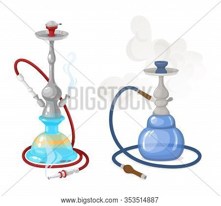 Modern Hookah With Smoke And Steam, Smoke And Fruit Flavors.