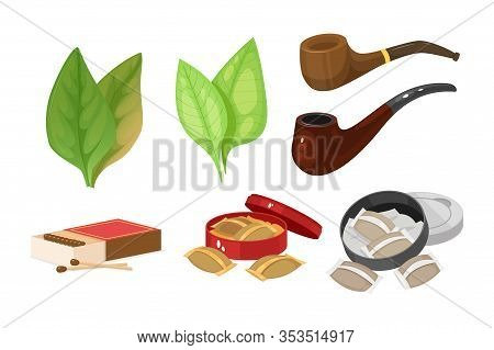 Smoking Tobacco, Bad Habits Set. Tobacco Hookah, Vape With Smoke Steam.