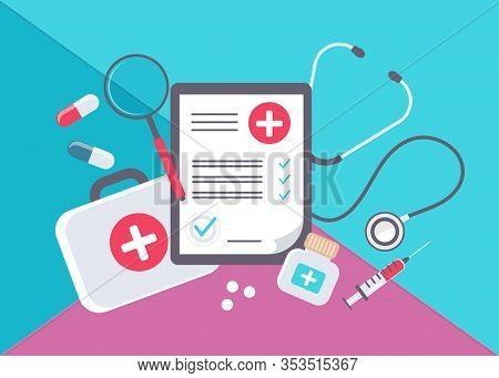 Medical form list with results data and medicine approved check mark vector medicine illustration, medicine flat cartoon clinical checklist document with checkbox, insurance or medicine service concept, medicine prescription record