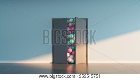 Multi-colored balls ready to pour out of the open doors. 3D render.