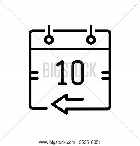 Black Line Icon For Yesterday Calendar Day Day-before Date Aloft