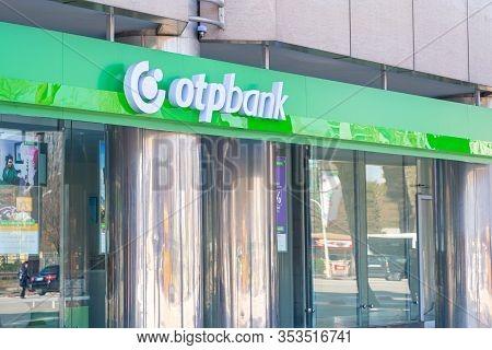 Tirana, Albania. February 2020: Otp Bank Logo On Its Central Administration Building In Tirana, Capi