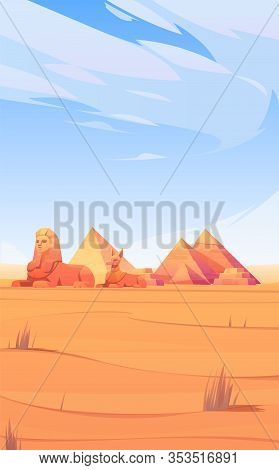 Egyptian Desert With Pyramids, Sphinx And Anubis Statue. Vector Template For Mobile Phone Screen Sav