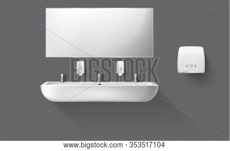 Public Toilet With White Ceramic Sink And Mirror. Vector Realistic Accessories For Interior Restroom