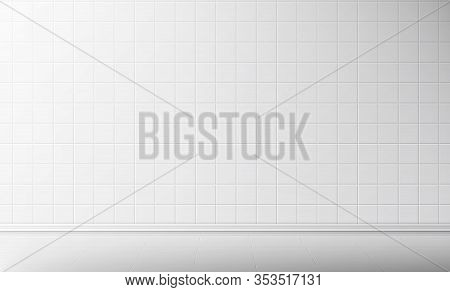 White Tile Wall And Floor In Bathroom Vector Seamless Background, Empty Kitchen Or Toilet Interior R