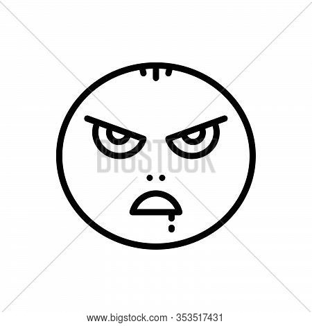 Black Line Icon For Mad Insane Maniac Raving Wild Demented Emoji Character Angry